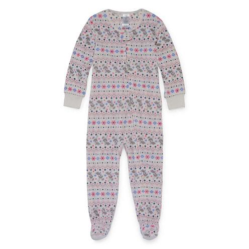 Girls White Bunny Pant Pajama Set-Toddler