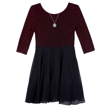 jcpenney.com | by&by girl 3/4 Sleeve Skater Dress - Big Kid Girls