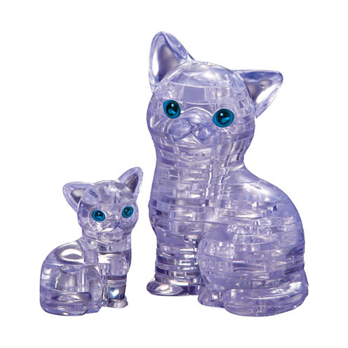 BePuzzled 3D Crystal Puzzle - Cat with Kitten: 49Pcs