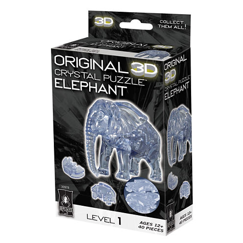 BePuzzled 3D Crystal Puzzle - Elephant: 40 Pcs