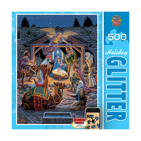 Masterpieces Puzzles Holiday Glitter Puzzle - HolyNight: 500 Pcs