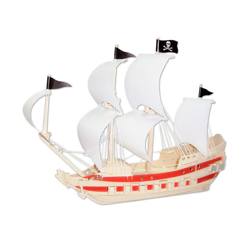 Puzzled Pirate Ship Natural Wood Puzzle