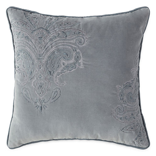 Royal Velvet Fresco Paisley Emboridered Square Decorative Pillow