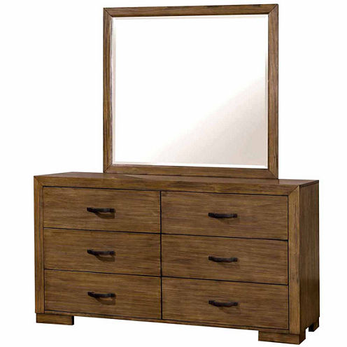 Evan Rustic Plank Style 6-Drawer Dresser
