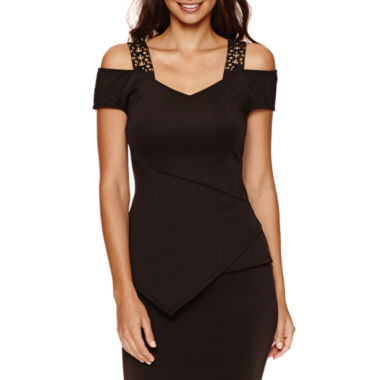 jcpenney.com | Bisou Bisou Studded Peplum Assymetrical Top