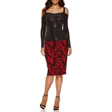 jcpenney.com | Bisou Bisou Shirred Front Band Top or Jacquard Pencil Skirt