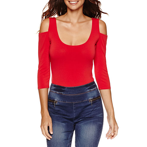 Bisou Bisou Long Sleeve Cold Shoulder Bodysuit
