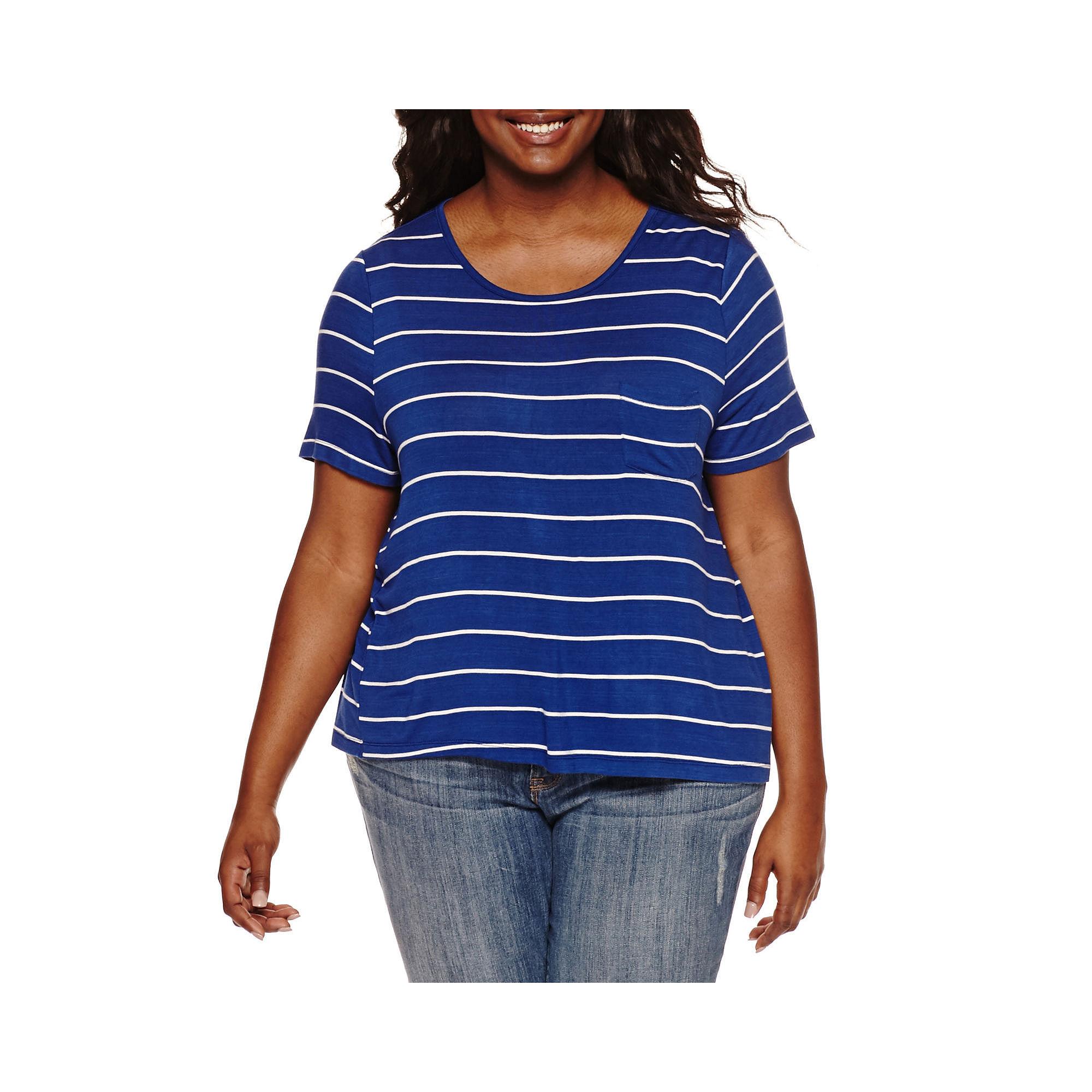 Embossed Short-Sleeve Back-Button Tee - Juniors Plus plus size,  plus size fashion plus size appare