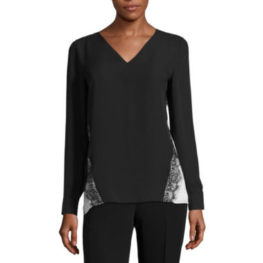 jcpenney.com | Worthington Long Sleeve V Neck Woven Blouse