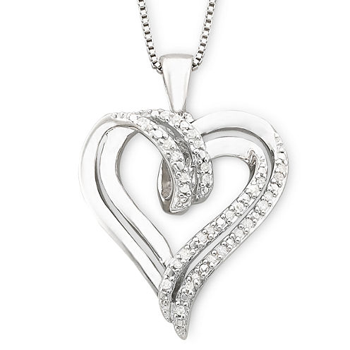 1/10 CT. T.W. Diamond Double-Heart Sterling Silver Pendant Necklace