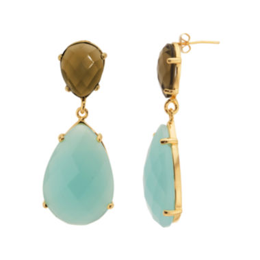 jcpenney.com | ATHRA Aqua and Smoky Stone Faceted Earrings