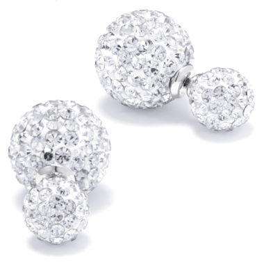 jcpenney.com | Silver Treasures Round Crystal Sterling Silver Stud Earrings