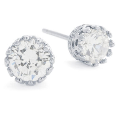 jcpenney.com | Silver Treasures Round Cubic Zirconia Sterling Silver Stud Earrings