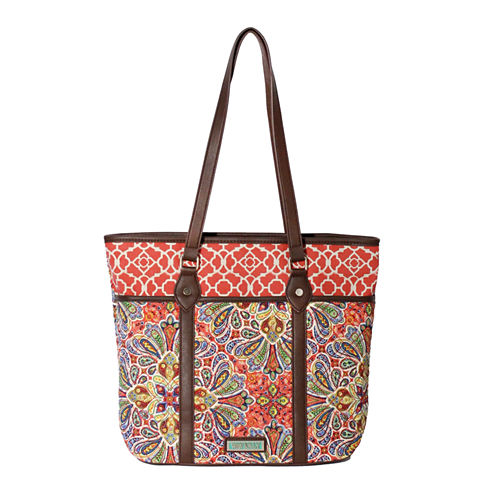 Waverly Paisley Floral Quilted Medium Tote Bag