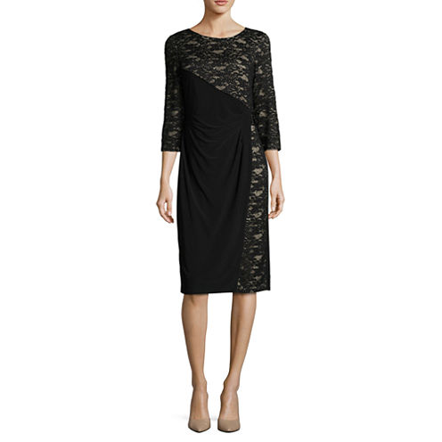 R & M Richards 3/4 sleeve Sheath Dress