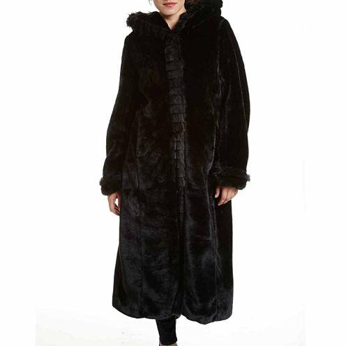 Excelled® Faux-Fur Long Solid Coat