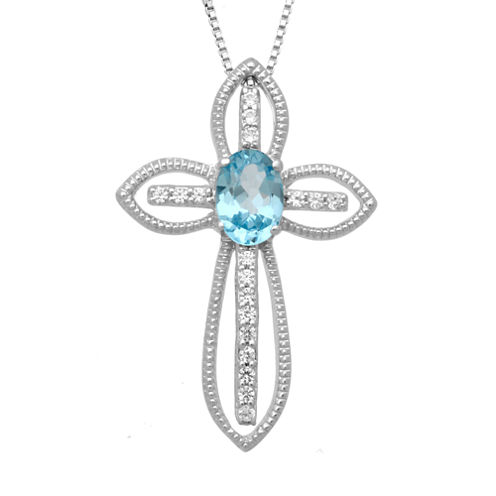 Womens White Topaz Sterling Silver Pendant Necklace