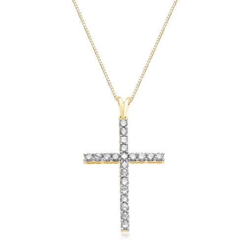 Womens 1 CT. T.W. White Diamond 10K Gold Pendant Necklace