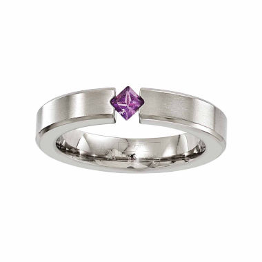 jcpenney.com | Edward Mirell Mens Purple Amethyst Titanium Wedding Band