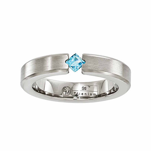 Edward Mirell Mens Blue Topaz Titanium Wedding Band