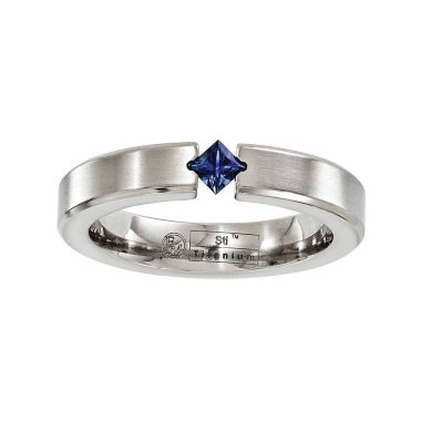 jcpenney.com | Edward Mirell Mens Blue Sapphire Titanium Wedding Band
