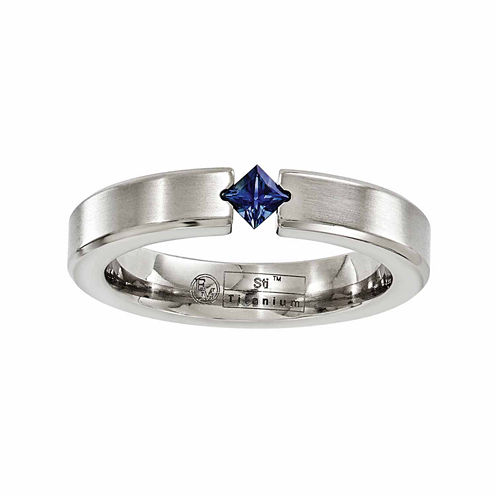 Edward Mirell Mens Blue Sapphire Titanium Wedding Band