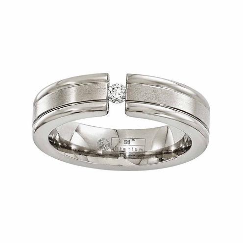Edward Mirell Mens 1/10 CT. T.W. White Diamond Titanium Wedding Band