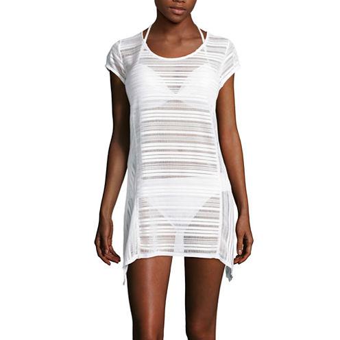 Porto Cruz® Cap-Sleeve Crochet Stripe Sharkbite Dress Cover-Up