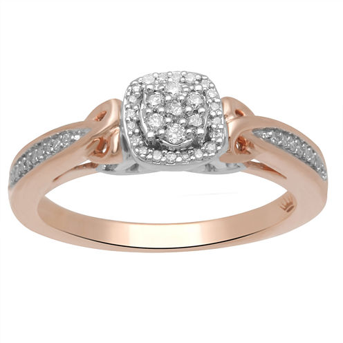 Hallmark Diamonds Womens 1/7 CT. T.W. White Diamond Sterling Silver Gold Over Silver Cocktail Ring