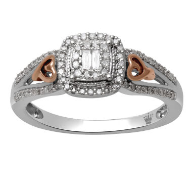 jcpenney.com | Hallmark Diamonds Womens 1/4 CT. T.W. White Diamond 14K Gold Over Silver Cocktail Ring