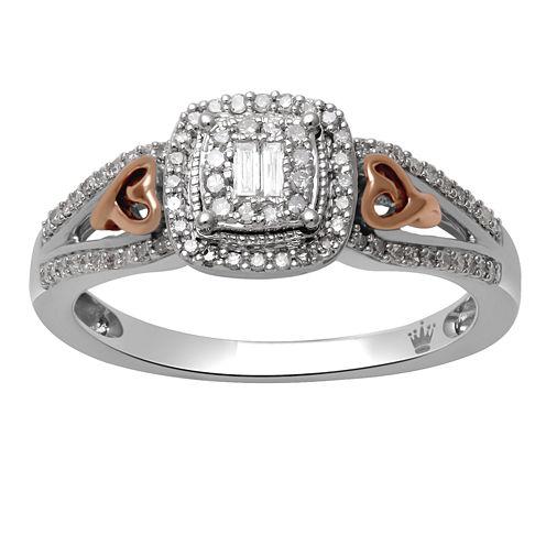 Hallmark Diamonds Womens 1/4 CT. T.W. White Diamond 14K Gold Over Silver Cocktail Ring