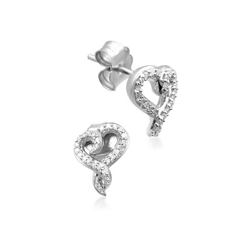 Hallmark Diamonds 1/10 CT. T.W. Round White Diamond Sterling Silver Stud Earrings