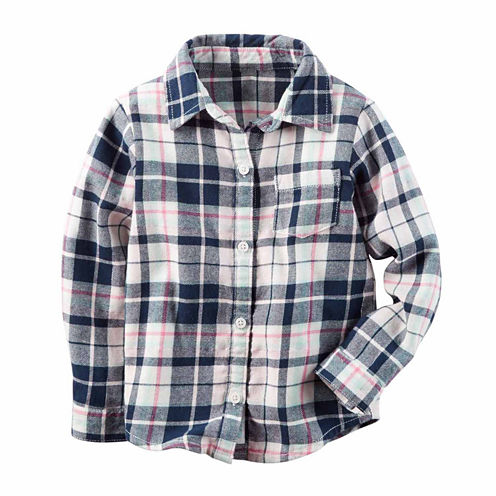 Carter's Long Sleeve Button-Front Shirt Girls