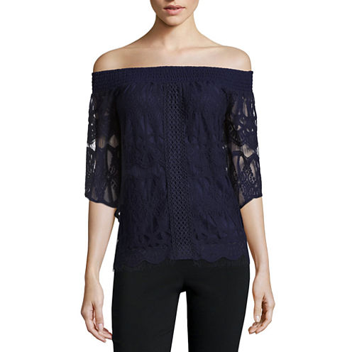 Society Girl 3/4 Sleeve Lace Blouse-Juniors