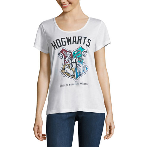 Short Sleeve Scoop Neck Harry Potter Graphic T-Shirt