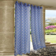Wrought Iron Printed Grommet-Top Outdoor Curtain