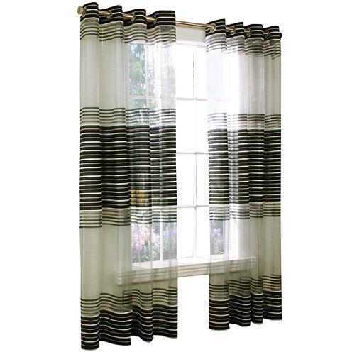 Onyx Grommet-Top Sheer Curtain Panel