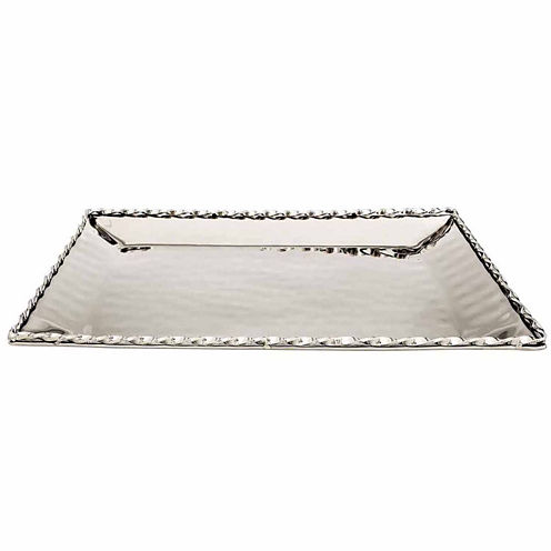 """Classic Touch hammered stainless steel Rectangular Platter Tray 16""""x12"""""""