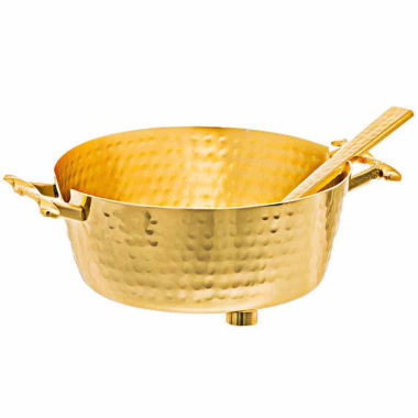jcpenney.com | Classic Touch hammered stainless steel Gold Candy Nut Bowl with Spoon