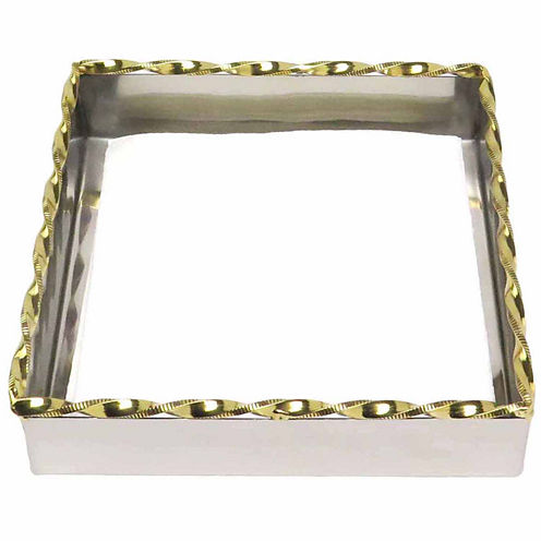 Classic Touch hammered stainless steel Gold Dinner Size Flat Napkin Holder