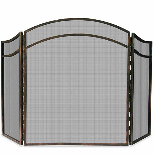 Blue Rhino 3 Fold Antique Rust Wrought Iron Fireplace Screen