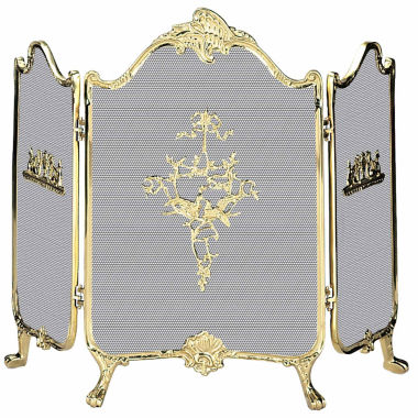 jcpenney.com | Blue Rhino 3 Fold Ornate Cast Solid Brass Fireplace Screen