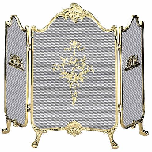 Blue Rhino 3 Fold Ornate Cast Solid Brass Fireplace Screen