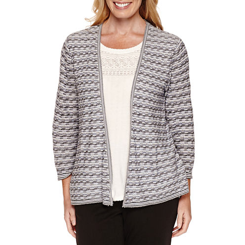 Alfred Dunner Spacedye Texture Twofer Sweater