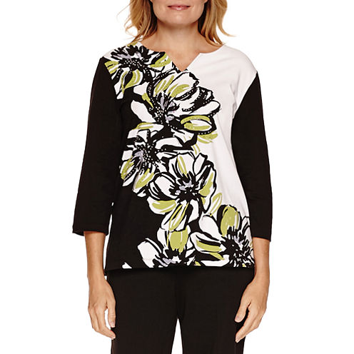 Alfred Dunner Casual Friday 3/4 Sleeve Floral Print Top