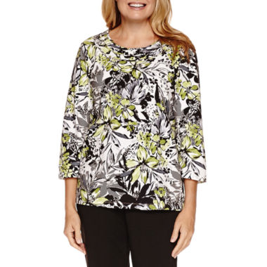 jcpenney.com | Alfred Dunner Casual Friday 3/4 Sleeve Print Top
