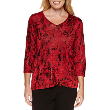 jcpenney.com | Alfred Dunner Tis The Season 3/4 Sleeve Print Top