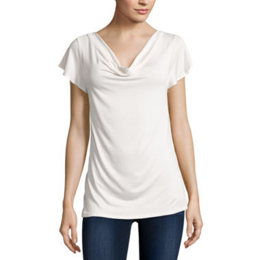 jcpenney.com | Bold Elements Short Sleeve Back Neck Lace Top