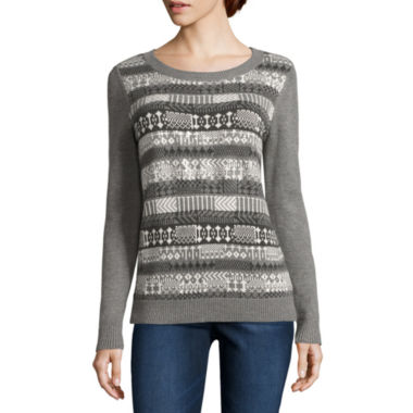 jcpenney.com | Liz Claiborne Long Sleeve Boat Neck Pullover Sweater-Talls