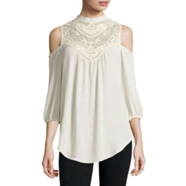 jcpenney.com | Heart & Soul® Long-Sleeve Victorian Cold-Shoulder Blouse - Juniors